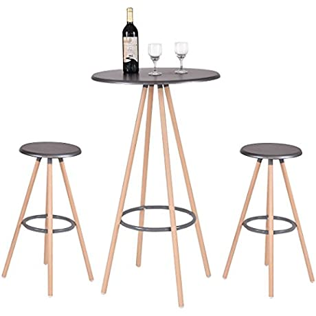 New 3PCS Bar Table Set W 2 Stools Bistro Pub Kitchen Dining Furniture Indoor