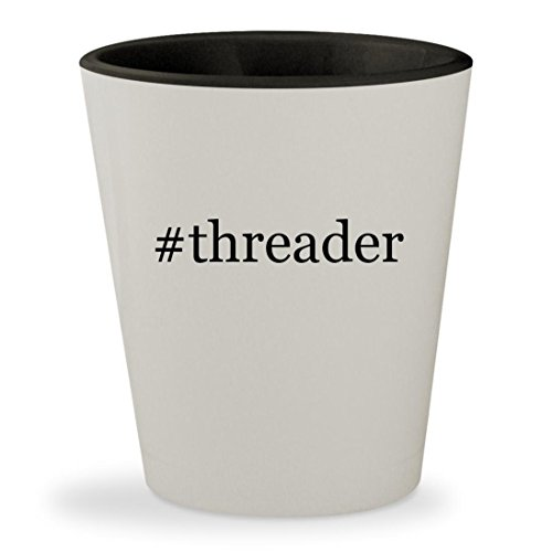#threader - Hashtag White Outer & Black Inner Ceramic 1.5oz Shot Glass (Serger Pfaff)