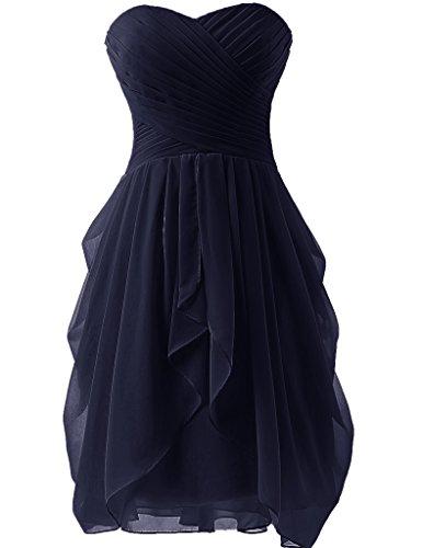 JAEDEN Sin tirantes Vestidos de dama de honor Corto Gasa Vestido de fiesta Vestido de coctail Azul marino