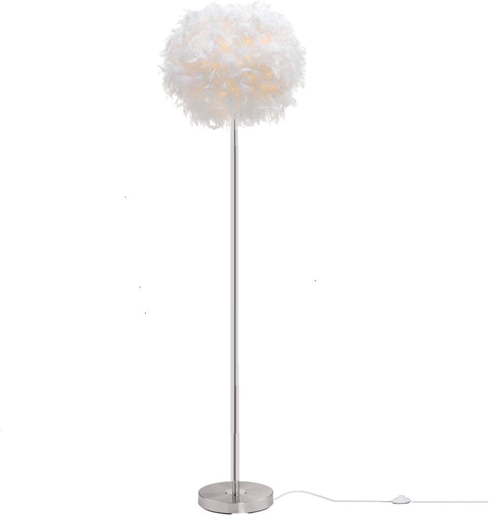 Surpars House Elegant White Feather Floor Lamp with On Off Switch in Line