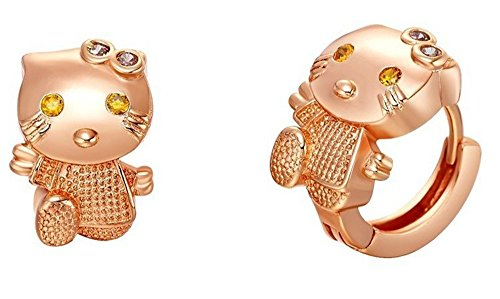 Happy Birthday Hello Kitty - Uloveido Silver Tiny Hello Kitty Cat Small Hoop Earrings Cubic Zirconia Crystal Jewelry for Gilrs Birthday Gift R564-Rose Gold
