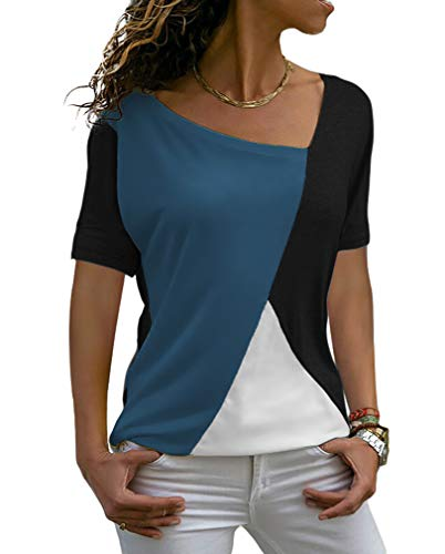 Sarin Mathews Womens Shirts Casual Tee Shirts Short Sleeve Patchwork Color Block Loose Fits Tunic Tops Blouses Navy+Black S