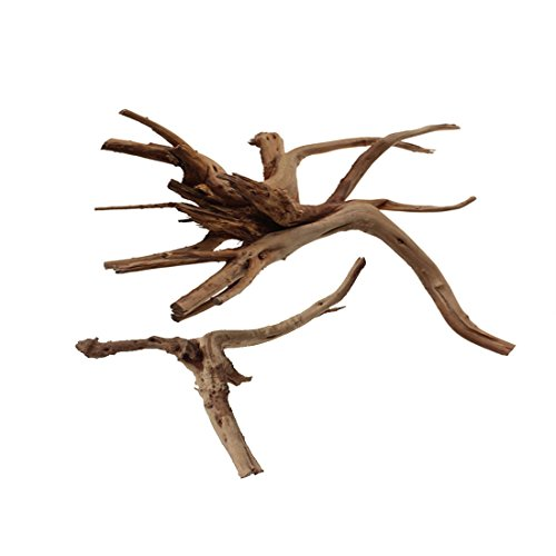 Emours Aquarium Driftwood Tropical Fish Plant Habitat Decor Varies Size, Small & Large,2 pcs Pack by Emours Pet