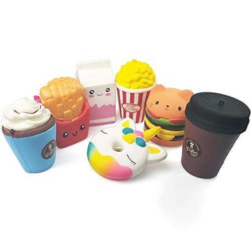 Squeeze Toy Jumbo Squishies Cute Unicorn Doughnut Hamburger Fries Popcorn Milk Ice Cream Coffee Cup Kawaii Cream Scented Squishies Slow Rising Decompression Squeeze Toys for Kids or Stress Relief
