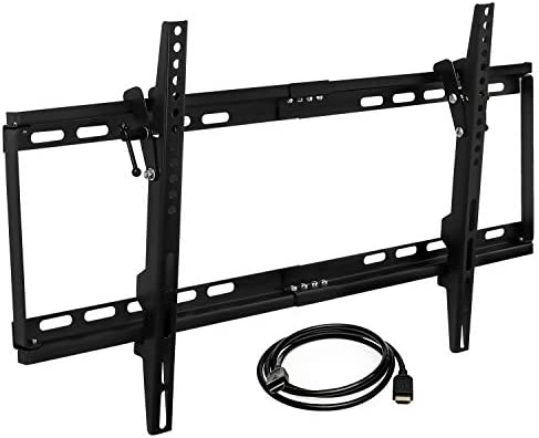 Mount-it MI-1121M-CBL Slim Tilting TV Wall Mount Bracket Low Profile for Samsung, Sony, Vizio, TCL, LG, Sharp 32 to 65 Inch LCD LED 4K TVs W HDMI Cable Included