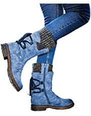 Women's Winter Warm Back Lace Up Snow Boots, Women Arched Support Warm Snow Boots, Winter Outdoor Waterproof Anti-Slip Durable Bootie, Fur Lined Knit Mid Calf Military Combat Boots