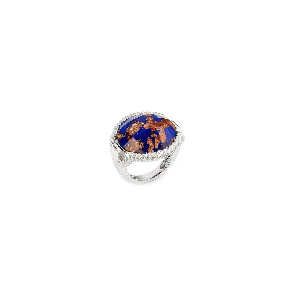 Sterling Silver, Blue & Copper Colored Millefiori Murano Glass Ring