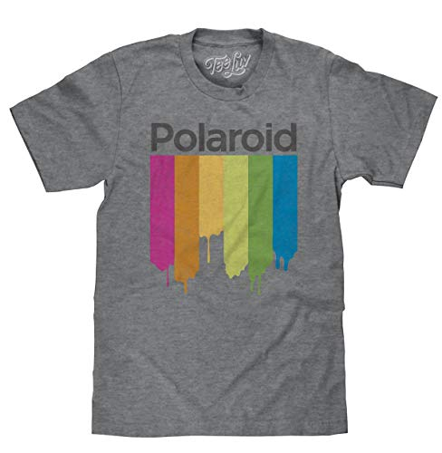 (Tee Luv Polaroid Shirt - Distressed Polaroid Camera Logo T-Shirt Graphite Snow Heather (3XL))