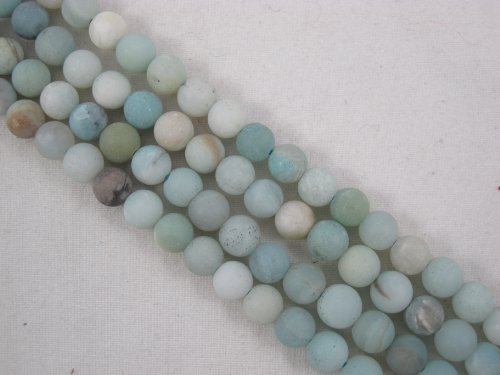 BRCbeads Amazonite Natural Gemstone Beads Matte Blue/yellow Color 6mm Round 66pcs 15.5'' Jewelry Making Beads