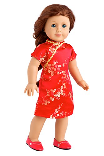 Asian Beauty - Asian Red and Gold Traditional Dress with Golden Shoes - Clothes Fits 18 Inch American Girl Doll (Doll Not Included) (Chinese Dress Chinese Dresses)