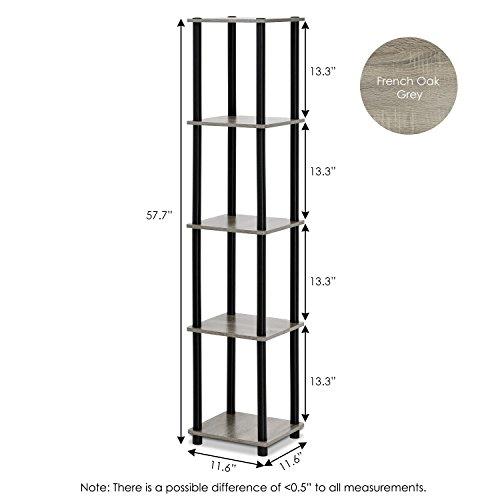 FURINNO Turn-N-Tube 5-Tier Corner Square Rack Display Shelf 99132GYW/BK, French Oak Grey/black