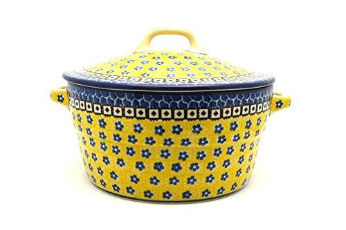 Polish Pottery Baker - Round Covered Casserole - Sunburst Polish Pottery Round Covered Dish