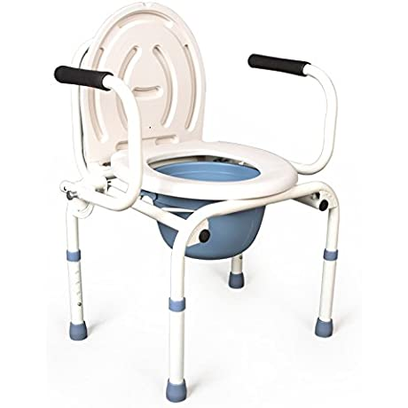 Bedside Commode Stainless Steel Folding Toilet Seat Can Be Thicker Tub 3 In 1 Folding Steel Toilet Chair
