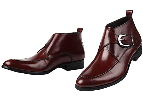 High Shoes Business Genuine Ankle top Santimon Leather Brown Boots Mens Handsewn waTFaqnIC