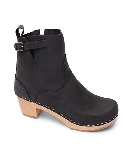 Sandgrens Swedish High Heel Wooden Clog Boots for Women | New York Black