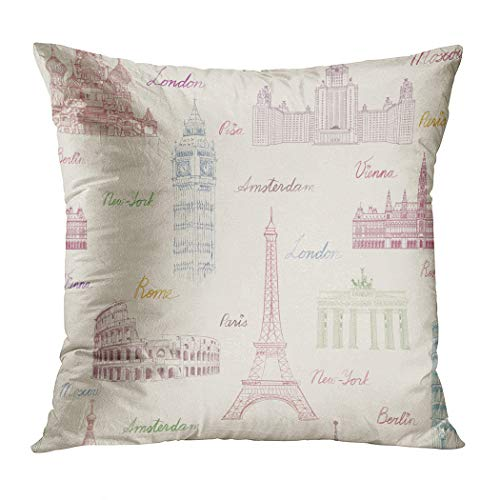 Suklly Throw Pillow Cover Square 20x20 Inch Travel Vacation in Europe to Visit Famous Places Cushion Home Sofa Decor Hidden Zipper Polyester Pillowcase