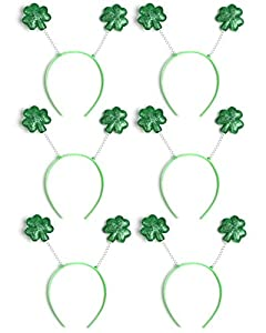 6PCS St. Patrick's Day Shamrock Headband Boppers - Party Accessories Irish Decorations Favors