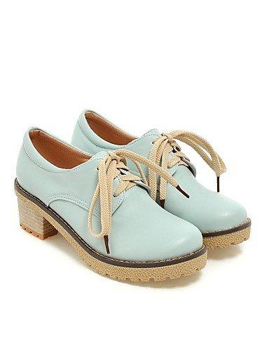 amp; Cn35 Similicuir 5 Femme Blue Eu36 Arrondi Talon Habillé Njx Chaussures Bout Gros Bureau us5 Uk3 Bleu Beige 5 Rose Richelieu Travail 1wtpCqC