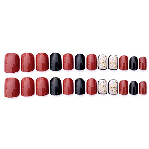 Black + Red Acrylic Nail Tips Short False Nails Art Fingernails 24Pcs/Set -