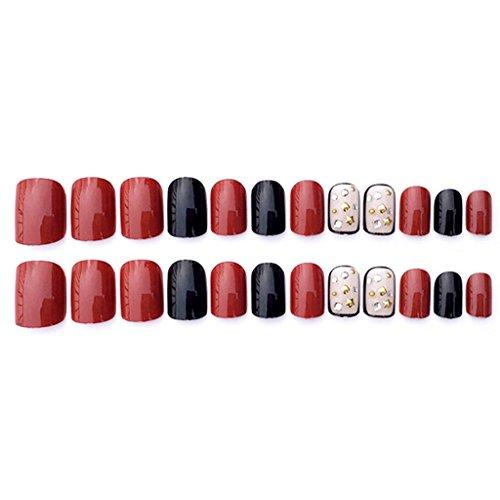 Black + Red Acrylic Nail Tips Short False Nails Art Fingernails 24Pcs/Set C67 -