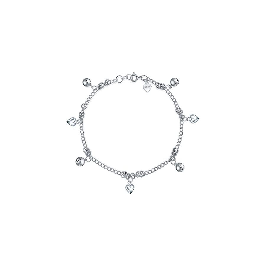 Heart Jingle Bell Charms 925 Silver Anklet 9.5 Inches