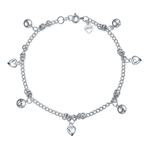 - Heart Jingle Bell Charms 925 Silver Anklet 9.5 Inches