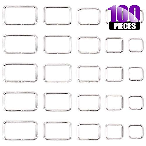 Swpeet 100 Pcs Assorted Metal Rectangle Ring, Webbing Belts Buckle for for Belt Bags DIY Accessories - 13mm / 15mm / 20mm / 25mm / 35mm