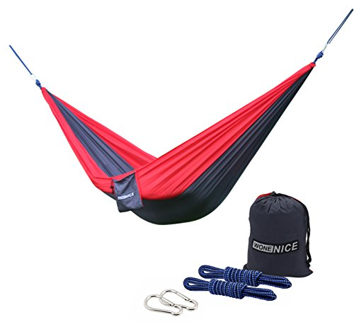 WoneNice Camping Hammocks, Portable Lightweight Nylon Parachute Multifunctional Hammock for Backpacking, Travel, Beach, Yard. 500 LB Capacity (Red/Charcoal)