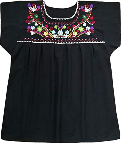 YZXDORWJ Embroidered Mexican Peasant Blouse with Short Sleeves(XXL, Black)
