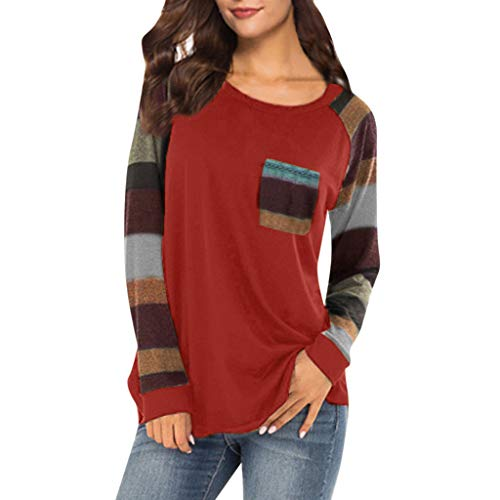 Women O-Neck Long Sleeve Patchwork Plaid Sweatshirt Pullover Tops Blouse Shirt ()