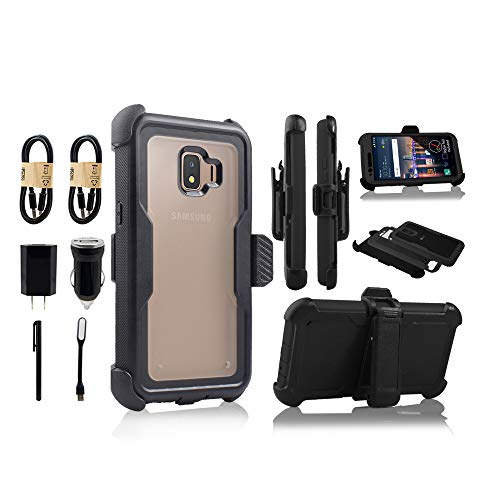 Compatible for Galaxy J2 core Case,Galaxy J2 Dash/J2 Pure/J260 Case Full Body Protection Defender Clear Case [Built in Screen] Holster Kickstand Cover[Accessory Bundle] (Black)