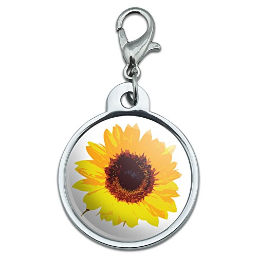 Chrome Plated Metal Small Pet ID Dog Cat Tag Wedding Marriage Shower (Chrome Sunflower)