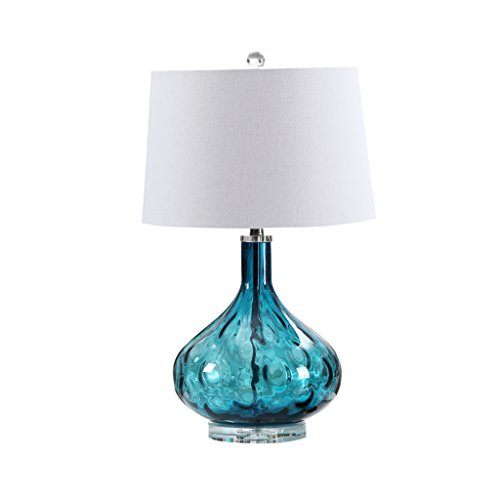 Briskaari Store- LED Glass Table Lamp with Fabric Shade for Living Room Bedroom Blue E27