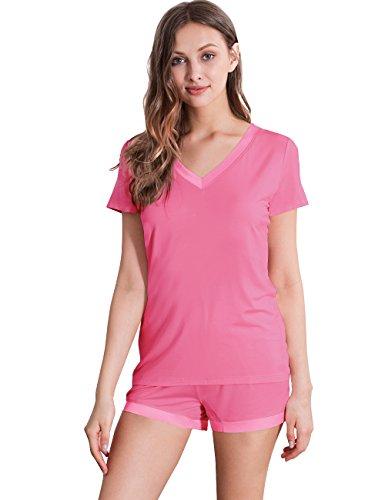 GYS Womens Soft V Neck Shorts Pajama Set (XL, RaspberryPink)