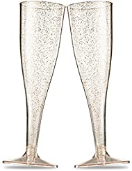 50 Gold Glitter Plastic Champagne Flutes ~ 5 Oz Clear Plastic Toasting Glasses ~ Disposable Wedding Party Cocktail Cups