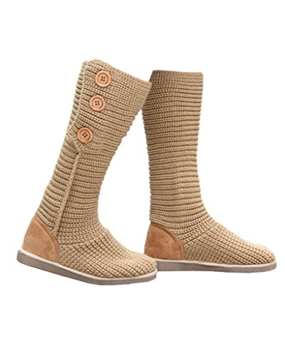 Maybest Womens 3 Buttons Snow Boot Knitted Cardy Winter Fur Outdoor Warm Boots Camel mfE56sZQ