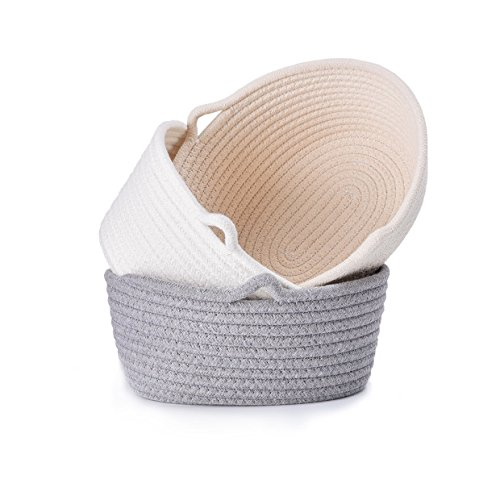 LoongBaby Cotton Rope Storage Basket Toy Chest Nesting Bins Candy Basket Handmade Box Approved by the FDA for Household Kids Toy Collection (3 Set-M) ()
