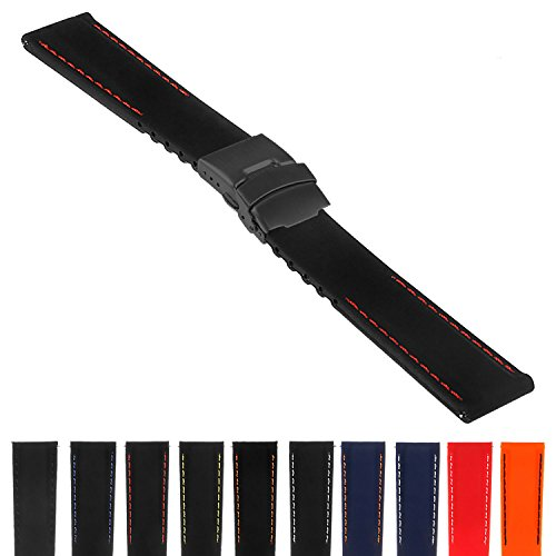 StrapsCo Rubber Watch Band with Stitching & Matte Black Deployant Clasp - Quick Release Strap - 18mm 20mm 22mm 24mm ()