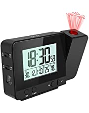 Jhua Digital ProjectionAlarmClock DimmableAlarmClock with Indoor Temperature Hygrometer, USB Charger, LCD Display Dual Alarm Clocks forBedrooms Ceiling Wall, DC & Battery Operated, Black