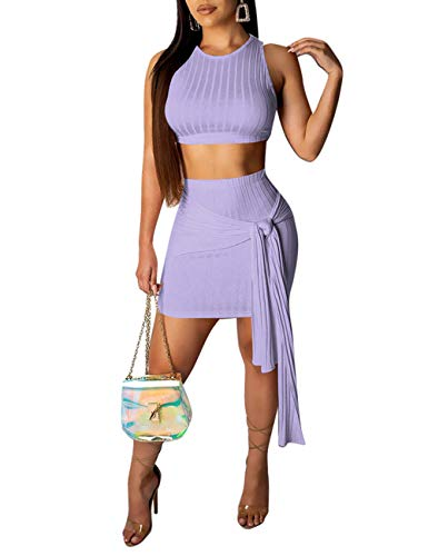 (Womens Ribbed 2 Piece Outfit Sleeveless Tank Crop Top +Mini Skirt Set Purple M)