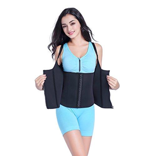 Sports Sweat (Youloveit Women's Zipper Sports Sweat Shaper Top Neoprene Slimming Vest for Weight Loss Waist Trainer, Spiral Steel Bone Black, M/waist:25.59-26.38