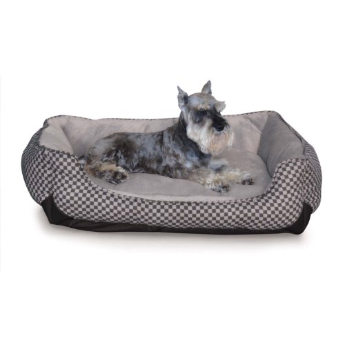 K&H Pet Products Self-Warming Lounge Sleeper Pet Bed Medium Black Square Print 24