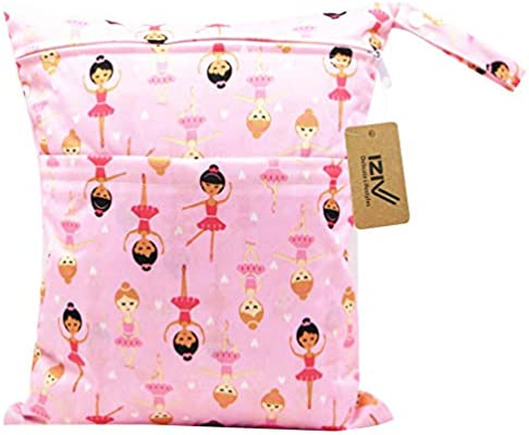 Nappy Bag iZiv Baby Waterproof Reusable Wet Dry Bag Reusable Wet Suit Bag Waterproof Washable Hanging Large Diaper Bag Organizer Pouch Double Zipper Printing Diaper Bag