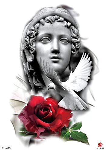 """Dove Virgin Mary Rose Large 8.25"""" Temporary arm Tattoo Temporary Art Tattoos Tattoo Fake"""
