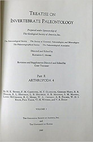 Treatise On Invertebrate Paleontology Part R Arthropoda 4 Volume