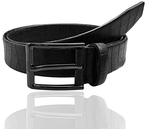 Luna Sosano Men's Crocodile Pattern Casual Dress Belt - Black - Medium