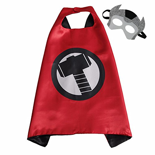 Superhero Cape and Mask Costume Set Boys Girls Birthday Halloween Play Dress Up (Thor) - Cute Halloween Costumes For Teenage Couples