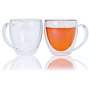 Double Wall Insulated Glass 12 oz Clear Thermal Walled Coffee Mugs (Set of 2) – Hold Your Hot Coffee, Tea or Hot Chocolate Without Burning Your Hands. Best Cups To Use With Keurig.