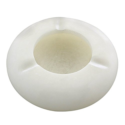 (ShalinIndia Handmade Indian White Marble Cigarette Ashtray - Durable Artisan Crafted Ashtrays for Indoor and Outdoor Use - 3 Inches)
