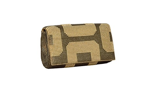 Whiting & Davis GEO Flap Clutch (Antique Gold)